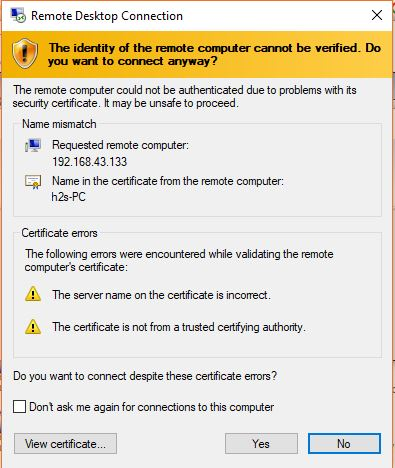 certificate for remote desktop
