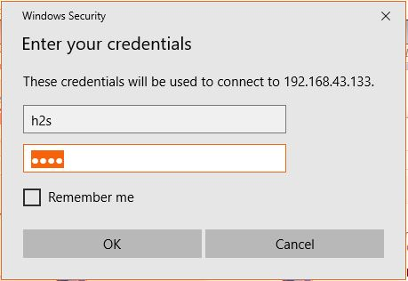 credentials for Remot desktop connection