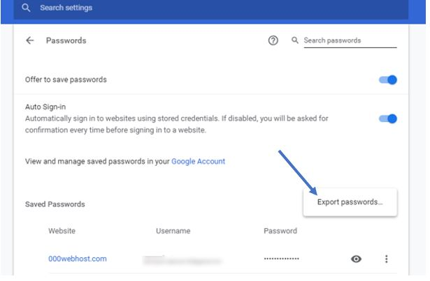 export chrome passwords mac