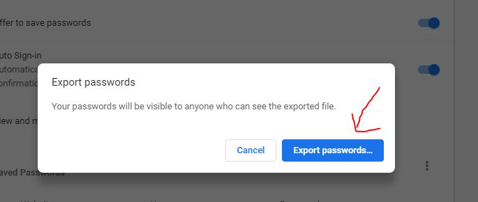 export chrome passwords to csv