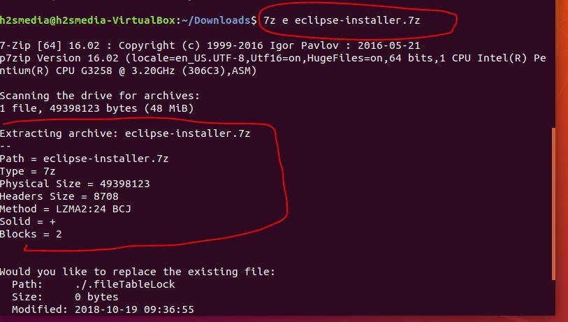 extracting compressed file in Ubuntu using 7-zip