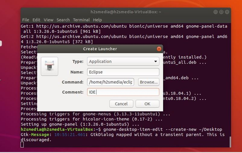 how to create desktop shortcut for eclipse in linux