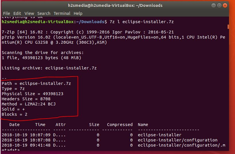how to use 7zip on Ubuntu command line