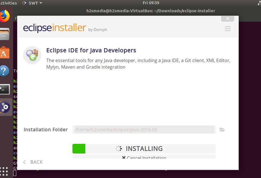 installation of Eclipse will start on Ubuntu for JAVA