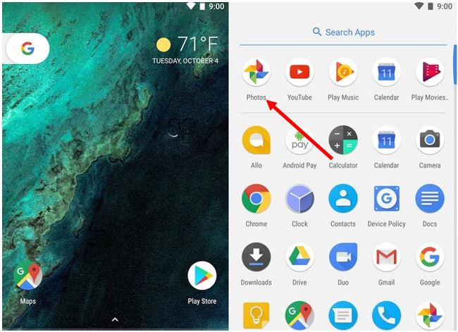 where to find the captured screenshots , photos & videos in Google Pixel phone