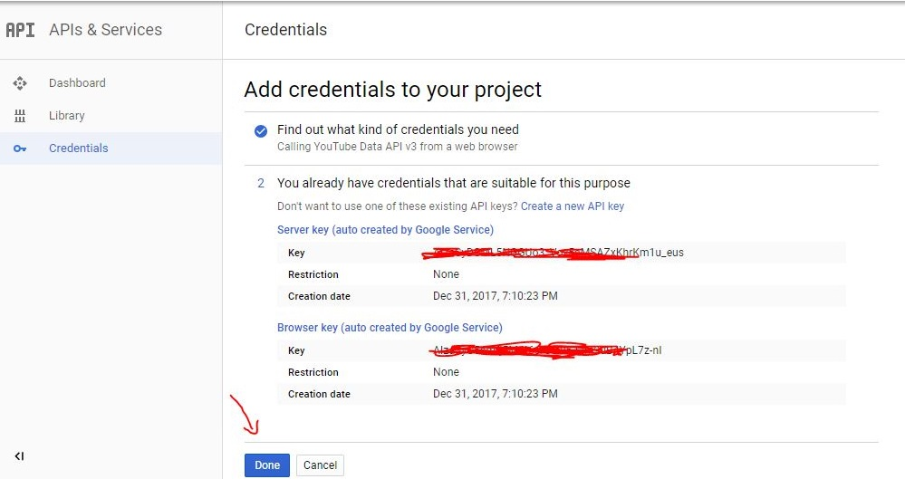 Add credentials to your project