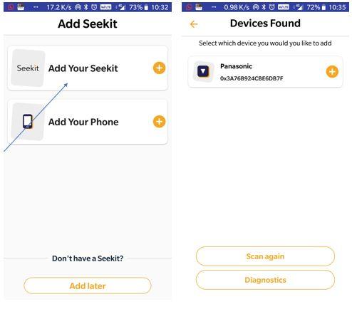 Add seekit device on the smartphone