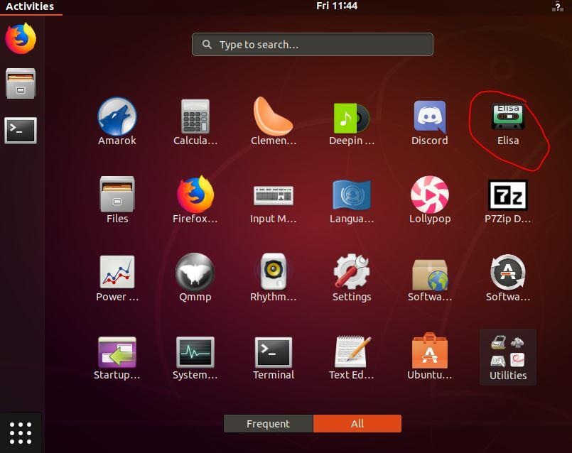 Elisa music player on Ubuntu