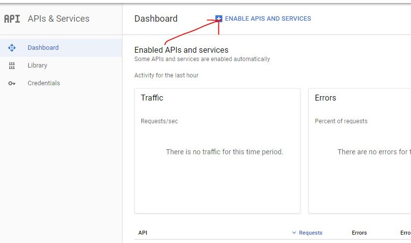 Enable API and services