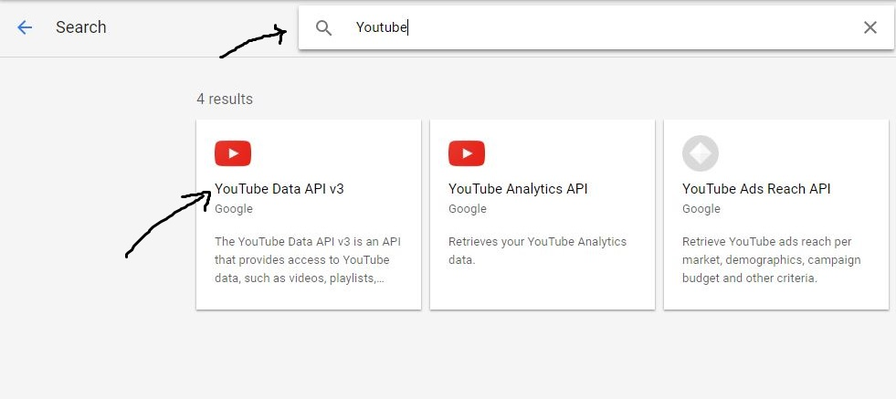 Search for Youtube API