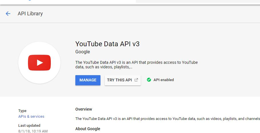 manage youtube API