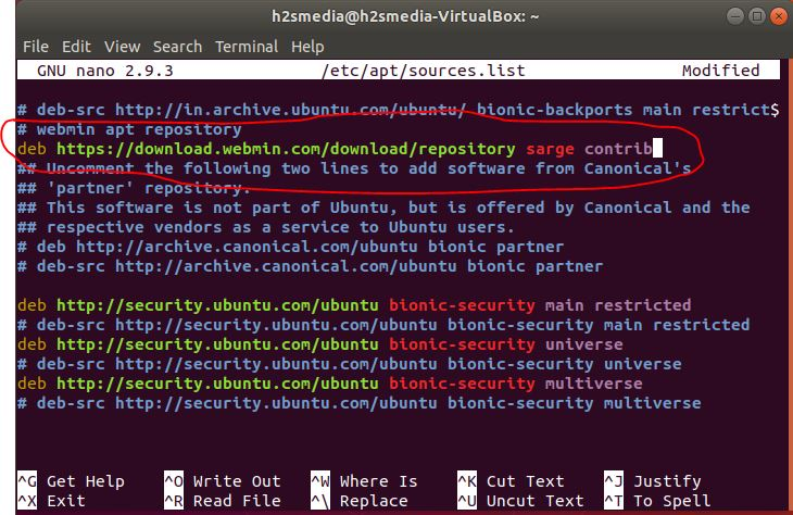 Add webmin repository on Ubuntu server