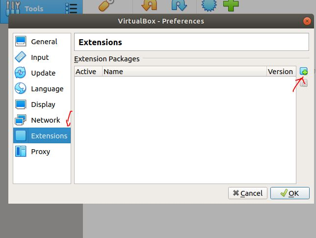 Load the virtualbox extension packages