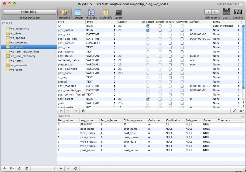 Sequelpro MySQL GUI Tools