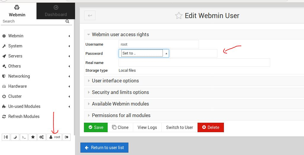 Webmin change root password
