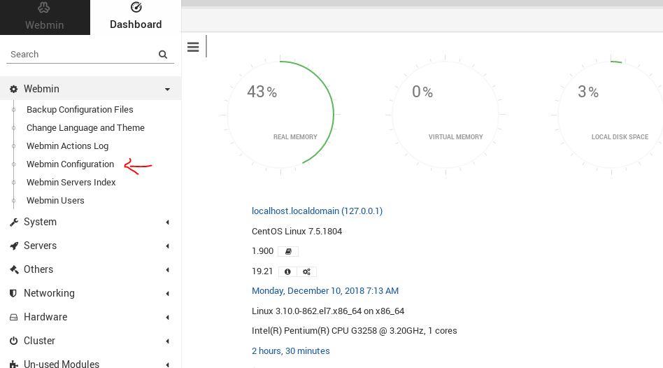 Webmin configuration Centos