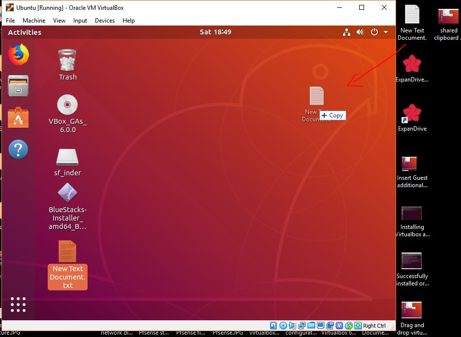 drag and copy the files from windows to ubuntu VM virtualbox