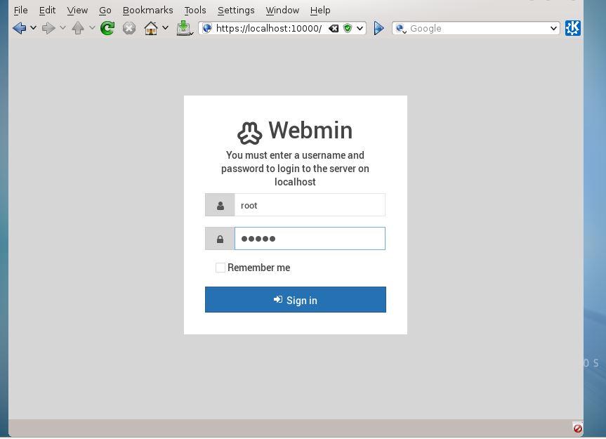 login webmin Centos