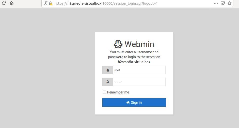 login webmin