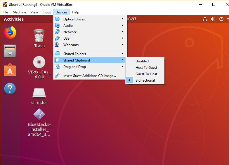 shared clipboard Ubuntu virtualbox