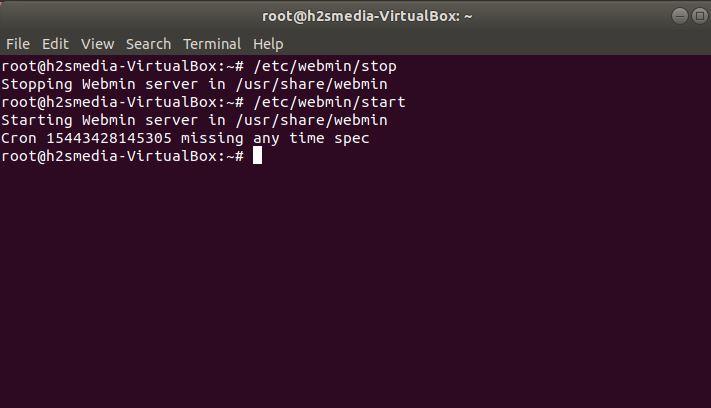 stop and restart the Webmin server
