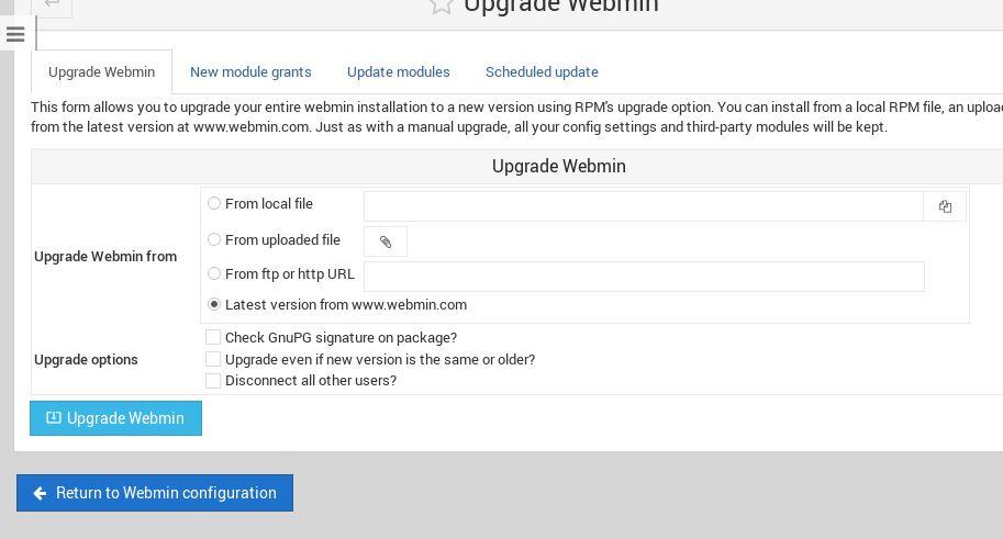 upgrade webmin centos