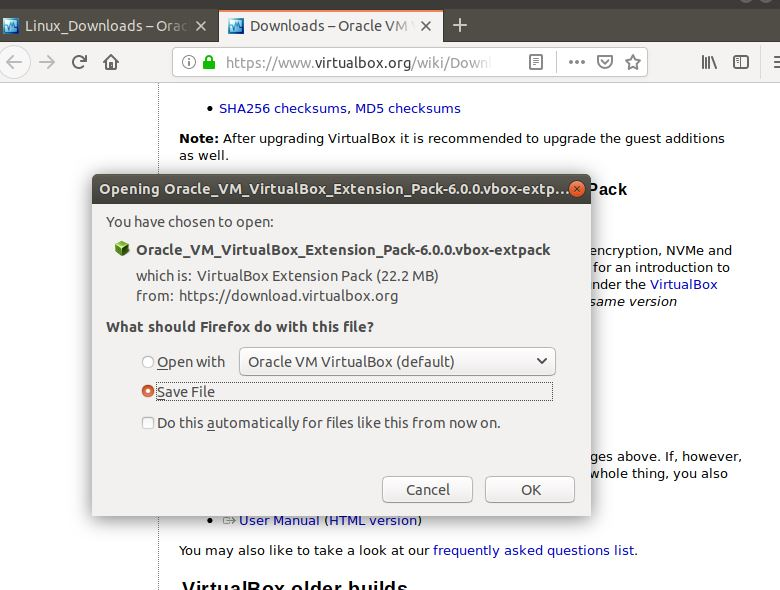 virtualbox 6.0 extension package installation