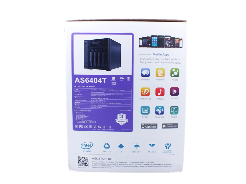 Asustor As6404t NAs packaging box