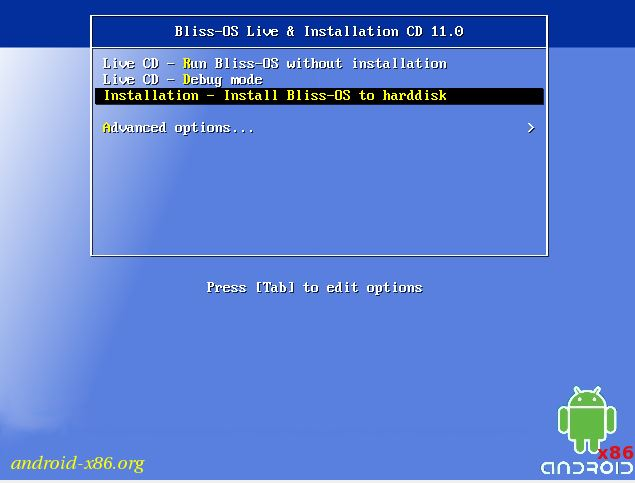 Bliss os live and installation