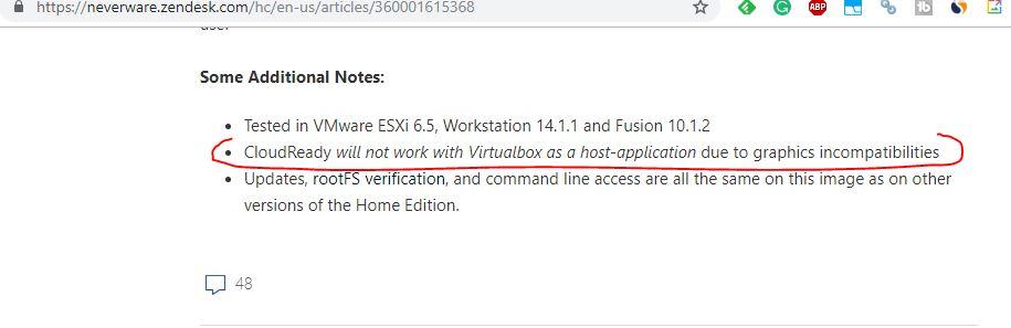 CloudReady ChromeOS will not work on VirtualBox