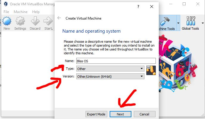 Create Bliss OS virtual machine