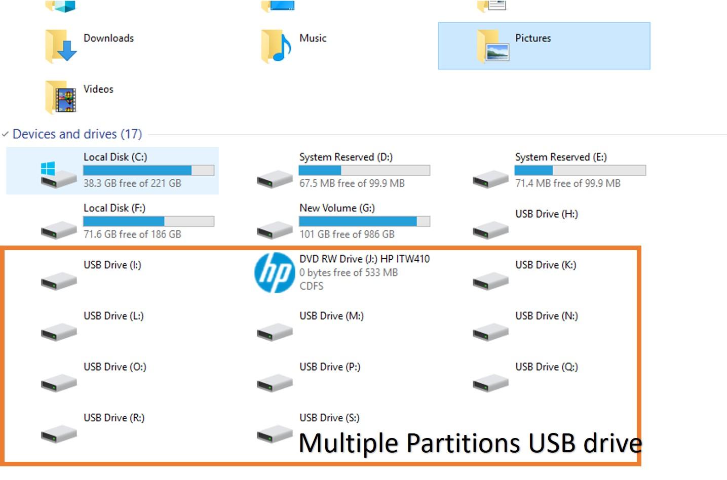 Delete muliple partitons USB drive