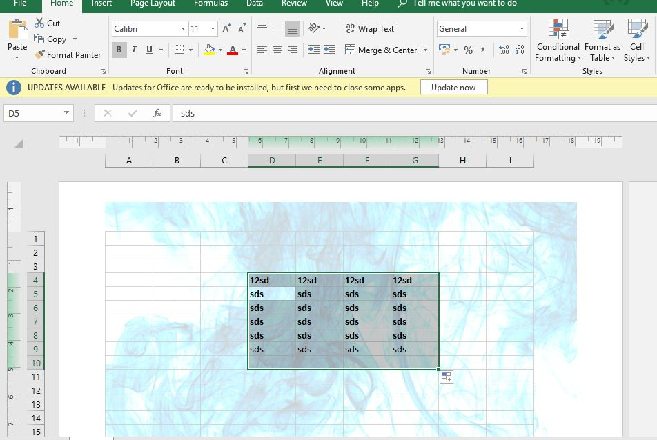 Final output watermark Excel