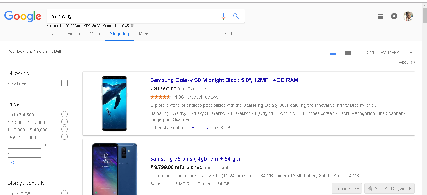 Google search shopping feature