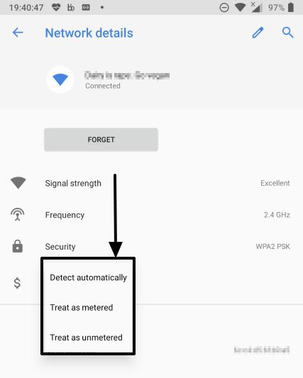 How to set Wi-Fi networks as metered or unmetered on Android devices 4