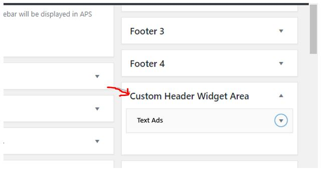 Custom HEader Widget area