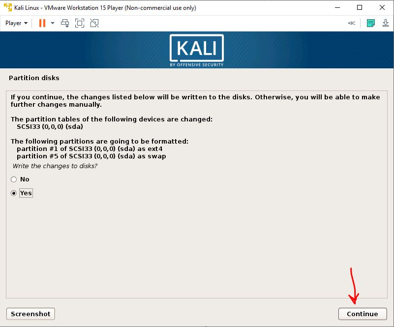Disk partitions kali linux