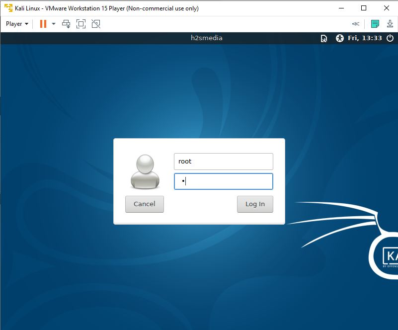 Login Kali Linux root