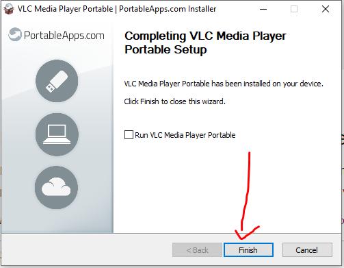 Run VLC portable media player