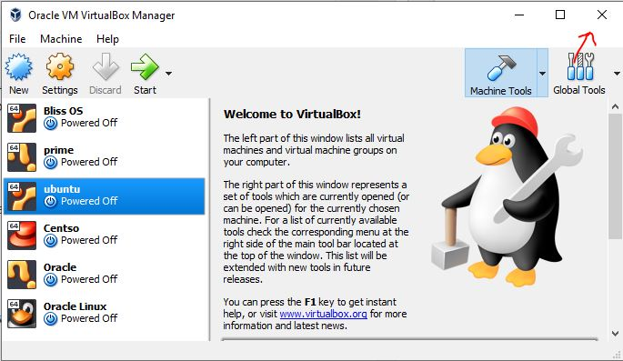 Shutdown virtualbox