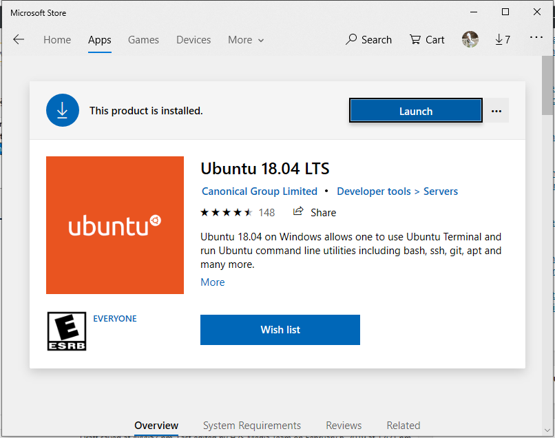 Ubuntu 18.04 on windows