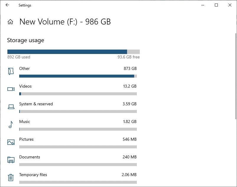 find large size folders in Windows 10