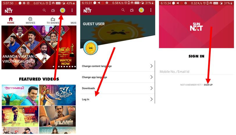 install sun nxt app on Android and PC