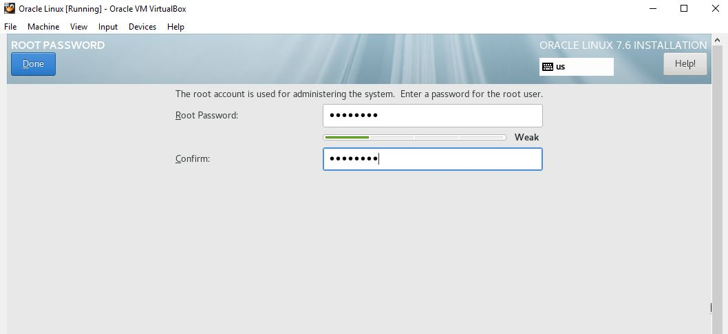 set the root password for Oracle Linux enterprise