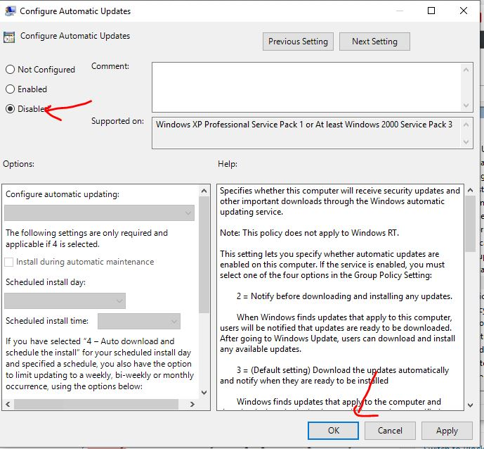 stop windows update from Configure tools