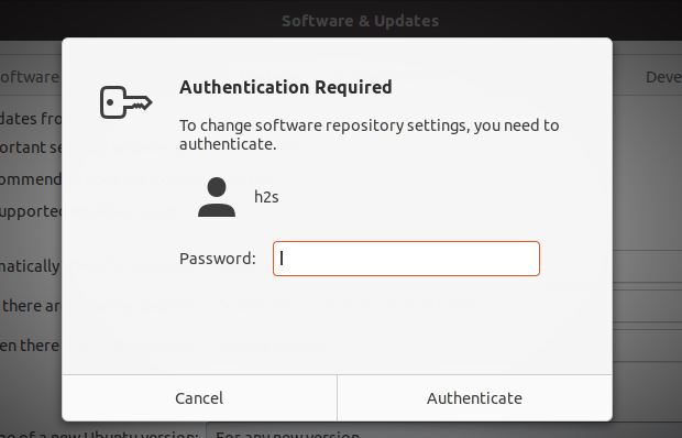 Authentication to upgrade ubuntu