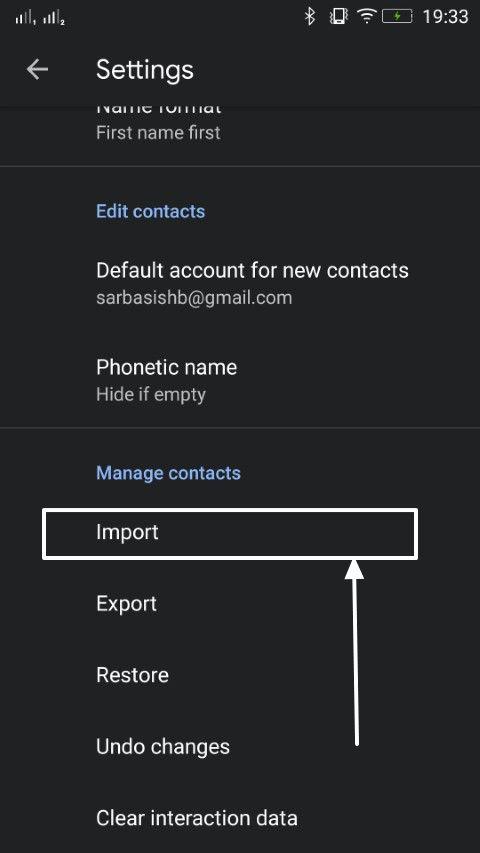Contacts import export 5