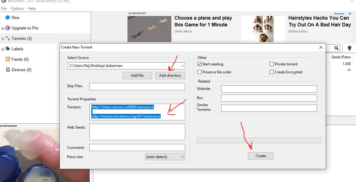 Create new torrent to share files