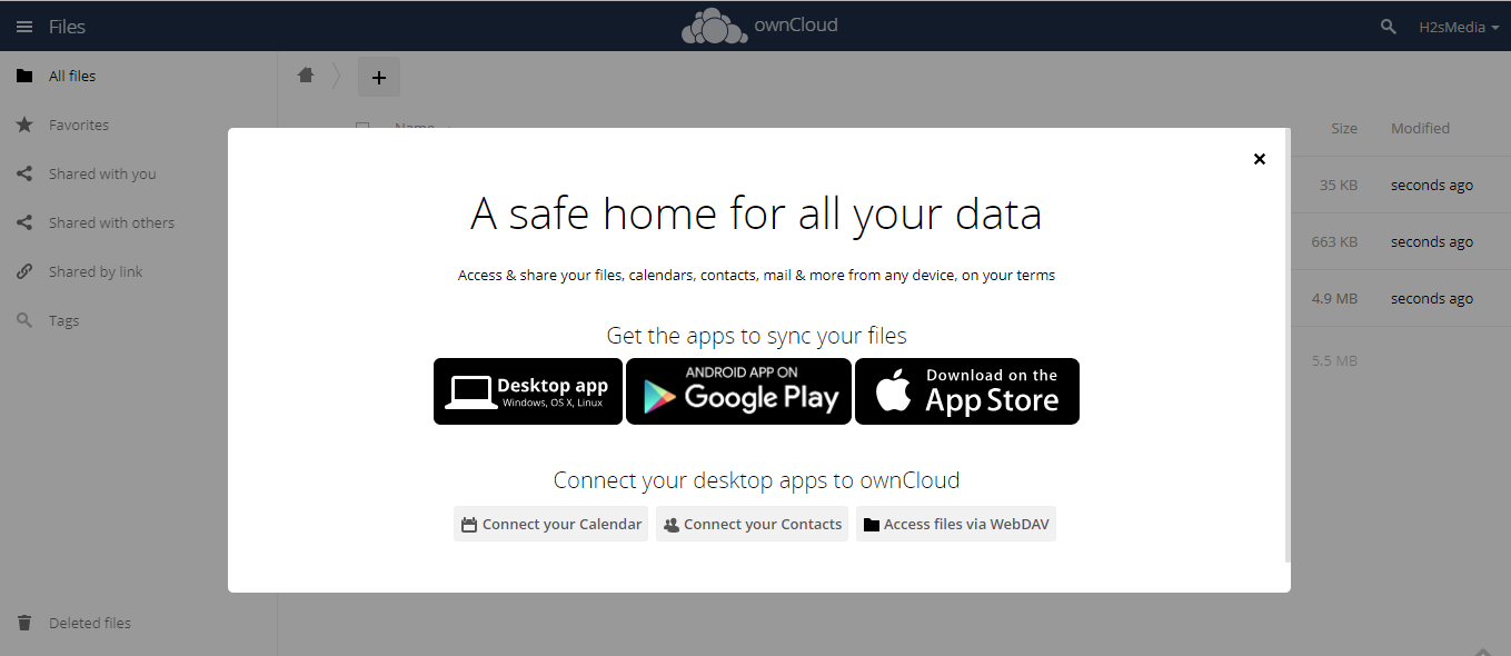 Get the apps to syn files on Owncloud to Windwos 10