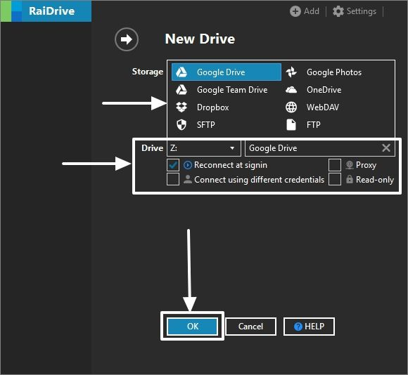 Select the Cloud Drive to map on Windows